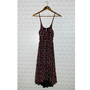 Free People Pink Red Black Floral Chiffon Dress SM
